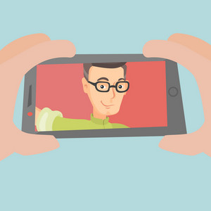 Adult joyful caucasian man making selfie. Smiling man making selfie with cellphone. Man taking selfie. Man taking selfie using his smartphone. Vector flat design illustration. Square layout.
