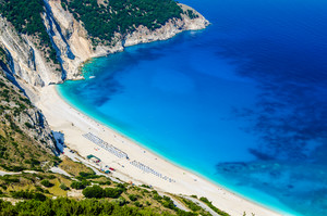Aerial View of beautiful Myrtos Bay and Beach on Kefalonia Island, Greece