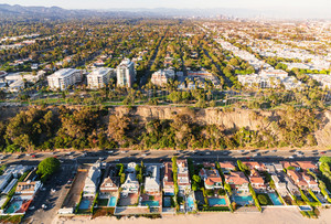 Aerial view of coastal developments in Santa Monica, CA