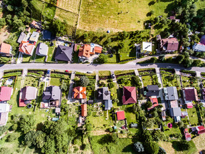 Aerial view of Dutch village, street, houses with gardens, green park with trees