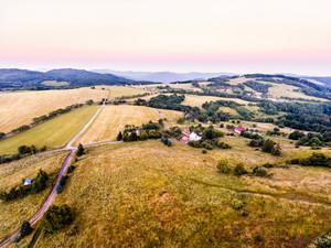 Aerial view of green grasslands, houses and forest, during sunny summer day. Slovakia, Nova Bana.