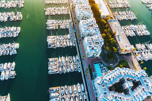 Aerial view of the Marina del Rey seaside community in Los Angeles