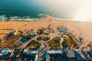 Aerial view of the shoreline in Venice Beach, CA
