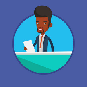 African-american anchorman at studio during live broadcasting. Television anchorman working at studio. Anchorman reporting tv news. Vector flat design illustration in the circle isolated on background