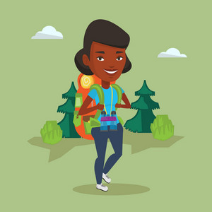 African-american backpacker with backpack and binoculars walking outdoor. Backpacker hiking in the forest during trip. Backpacker traveling in nature. Vector flat design illustration. Square layout.