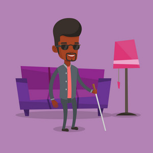 African-american blind man standing with walking stick at home. Blind man in dark glasses standing with cane at home. Blind man walking with stick. Vector flat design illustration. Square layout.