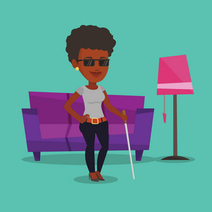 African-american blind woman standing with walking stick at home. Blind woman in dark glasses standing with cane at home. Blind woman walking with stick. Vector flat design illustration. Square layout