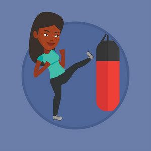 African-american boxer exercising with boxing bag. Boxer hitting heavy bag during training. Boxer training with the punch bag. Vector flat design illustration in the circle isolated on background.