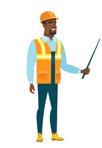 African-american builder holding pointer stick. Full length of young builder with pointer stick. Builder pointing with pointer stick. Vector flat design illustration isolated on white background.