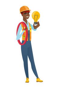 African-american builder in hard hat holding idea light bulb. Full length of builder having a creative idea. Successful idea concept. Vector flat design illustration isolated on white background.