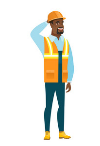 African-american builder in hard hat laughing. Young builder laughing with hands on his head. Builder laughing and touching his head. Vector flat design illustration isolated on white background.