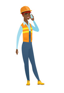 African-american builder in hard hat talking on a mobile phone. Young smiling builder talking on cell phone. Builder using cell phone. Vector flat design illustration isolated on white background.