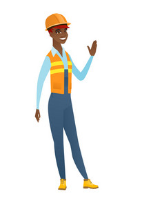 African-american builder in hard hat waving her hand. Full length of builder waving hand. Builder making greeting gesture - waving hand. Vector flat design illustration isolated on white background.