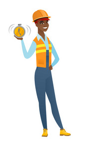 African-american builder showing ringing alarm clock. Full length of young builder with alarm clock. Happy builder holding alarm clock. Vector flat design illustration isolated on white background.