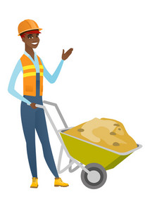 African-american builder standing near wheelbarrow full of sand. Full length of young builder in hard hat waving hand near wheelbarrow. Vector flat design illustration isolated on white background.