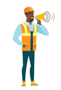 African-american builder with a loudspeaker making an announcement. Full length of builder making an announcement through a loudspeaker. Vector flat design illustration isolated on white background.
