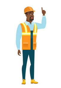African-american builder with open mouth pointing finger up. Full length of young builder with open mouth came up with successful idea. Vector flat design illustration isolated on white background.