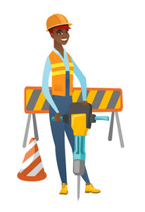 African-american builder worker working with pneumatic hammer drill equipment at construction site. Young builder using pneumatic hammer. Vector flat design illustration isolated on white background.