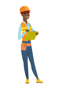 African-american building inspector making some notes in clipboard. Full length of building inspector in uniform and hard hat at work. Vector flat design illustration isolated on white background.