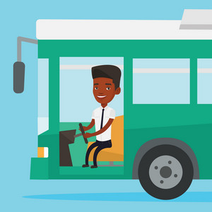 African-american bus driver sitting at steering wheel. Young driver driving passenger bus. Bus driver sitting in drivers seat in cab. Vector flat design illustration. Square layout.