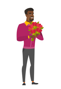 African-american business man holding a bouquet of flowers. Full length of business man with bouquet of flowers. Business man with flowers. Vector flat design illustration isolated on white background