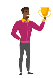African-american business man holding a golden trophy. Full length of business man with trophy. Happy business man celebrating with trophy. Vector flat design illustration isolated on white background