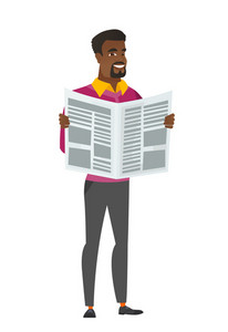African-american business man reading newspaper. Businessman standing with newspaper in hands. Business man reading good news in newspaper. Vector flat design illustration isolated on white background