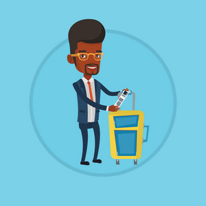 African-american business man showing luggage tag. Business class passenger standing near suitcase with priority luggage tag. Vector flat design illustration in the circle isolated on background.