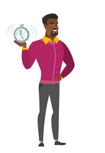 African-american business man showing ringing alarm clock. Full length of business man with alarm clock. Business man holding alarm clock. Vector flat design illustration isolated on white background.