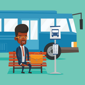 African-american business man with briefcase waiting at the bus stop. Young businessman sitting at the bus stop. Businessman sitting on a bus stop bench. Vector flat design illustration. Square layout