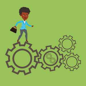 African-american business woman running on cogwheels. Business woman running to success. Business woman running in a hurry. Concept of moving to success. Vector flat design illustration. Square layout