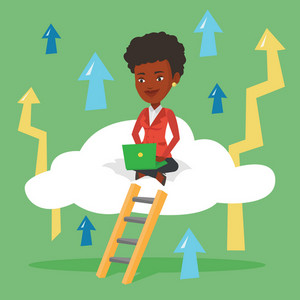 African-american business woman sitting on a cloud and working on her laptop. Business woman using cloud computing technology. Cloud computing concept. Vector flat design illustration. Square layout.