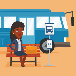 African-american business woman with briefcase waiting at the bus stop. Businesswoman sitting at the bus stop. Businesswoman sitting on a bus stop bench. Vector flat design illustration. Square layout