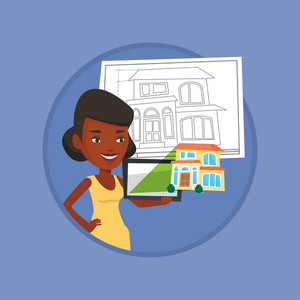African-american business woman with digital tablet showing the photo of house. Woman looking at photo of house on digital tablet. Vector flat design illustration in the circle isolated on background.