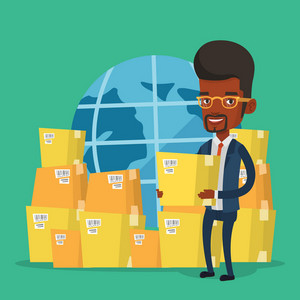 African-american businessman holding box on the background of world map. Man working in international delivery service. International delivery concept. Vector flat design illustration. Square layout.