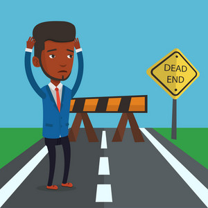 African-american businessman looking at road sign dead end symbolizing business obstacle. Man facing with business obstacle. Business obstacle concept. Vector flat design illustration. Square layout.