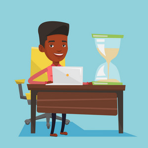 African-american businessman sitting at the table with hourglass symbolizing deadline. Businessman coping with deadline successfully. Deadline concept. Vector flat design illustration. Square layout.