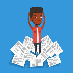 African-american businessman surrounded by lots of papers. Overworked businessman having a lot of paperwork. Businessman standing in the heap of papers. Vector flat design illustration. Square layout
