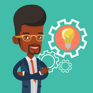 African-american businessman with business idea bulb in a cogwheel. Smiling business man having a business idea. Concept of successful business idea. Vector flat design illustration. Square layout.