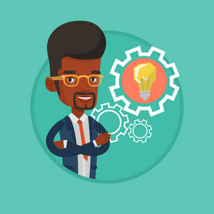 African-american businessman with business idea bulb. Young businessman having business idea. Concept of successful business idea. Vector flat design illustration in the circle isolated on background.