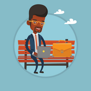 African-american businessman working outdoor. Businessman working on a laptop. Businessman sitting on bench and working on laptop. Vector flat design illustration in the circle isolated on background.