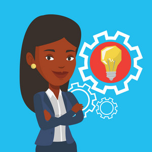 African-american businesswoman with business idea bulb in a cogwheel. Young businesswoman having a business idea. Concept of successful business idea. Vector flat design illustration. Square layout.