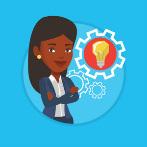 African-american businesswoman with business idea bulb in cogwheel. Businesswoman having business idea. Concept of business idea. Vector flat design illustration in the circle isolated on background.
