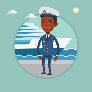 African-american captain standing on the background of cruise ship. Young ship captain in uniform standing on seacoast background. Vector flat design illustration in the circle isolated on background.