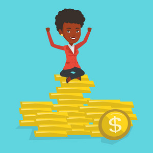 African-american cheerful business woman sitting on stack of golden coins. Business woman sitting on a pile of golden coins. Businesswoman on gold coins. Vector flat design illustration. Square layout