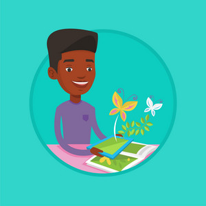 African-american cheerful man holding tablet computer with application for augmented reality. Concept of augmented reality. Vector flat design illustration in the circle isolated on background.