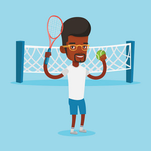 African-american cheerful sportsman playing tennis. Smiling tennis player standing on the court. Happy male tennis player holding a racket and a ball. Vector flat design illustration. Square layout.