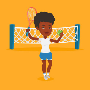 African-american cheerful sportswoman playing tennis. Smiling tennis player standing on the court. Female tennis player holding a racket and a ball. Vector flat design illustration. Square layout.