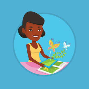 African-american cheerful woman holding tablet computer with application for augmented reality. Concept of augmented reality. Vector flat design illustration in the circle isolated on background.
