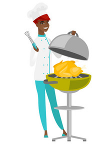 African-american chef cook cooking chicken on barbecue grill. Chef having a barbecue party. Chef cook preparing chicken on barbecue grill. Vector flat design illustration isolated on white background.